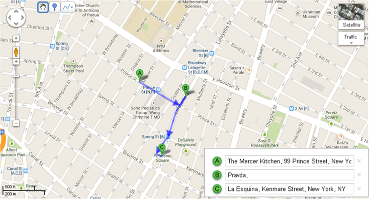 Recorrido Día 4 - Mapa Restaurantes